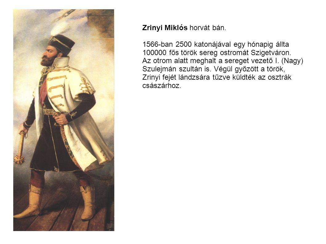Zrinyi Miklós horvát bán. 1566-ban 2500 katonájával egy hónapig állta 100000 fős török sereg ostromát Szigetváron. Az otrom alatt meghalt a sereget ve