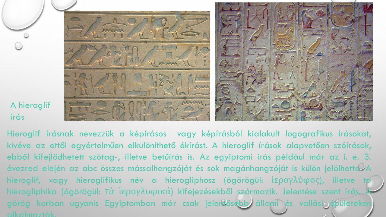 Hieroglif írásnak nevezzük a képírásos vagy képírásból kialakult logografikus írásokat, kivéve az ettől egyértelműen elkülöníthető ékírást. A hierogli