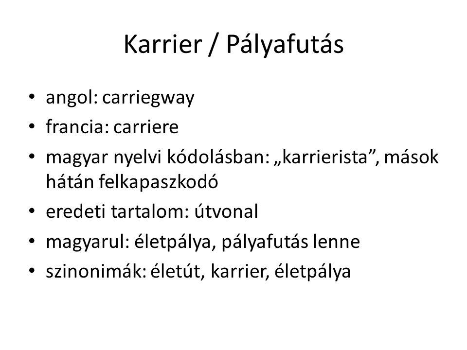 """Karrier / Pályafutás angol: carriegway francia: carriere magyar nyelvi kódolásban: """"karrierista"""", mások hátán felkapaszkodó eredeti tartalom: útvonal"""