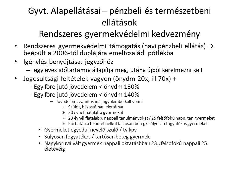 Rendszeres gyermekvédelmi kedvezmény Ellátás tartalma, összege – 2012.