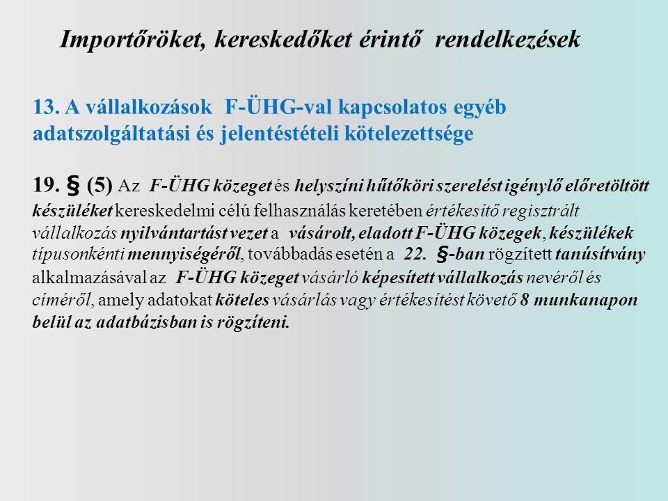 Importőröket, kereskedőket érintő rendelkezések 13. A vállalkozások F-ÜHG-val kapcsolatos egyéb adatszolgáltatási és jelentéstételi kötelezettsége 19.