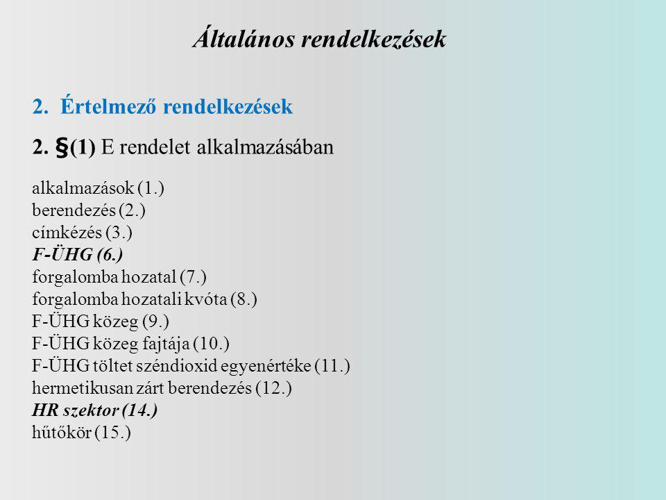 Általános rendelkezések 2. Értelmező rendelkezések 2. §(1) E rendelet alkalmazásában alkalmazások (1.) berendezés (2.) címkézés (3.) F-ÜHG (6.) forgal