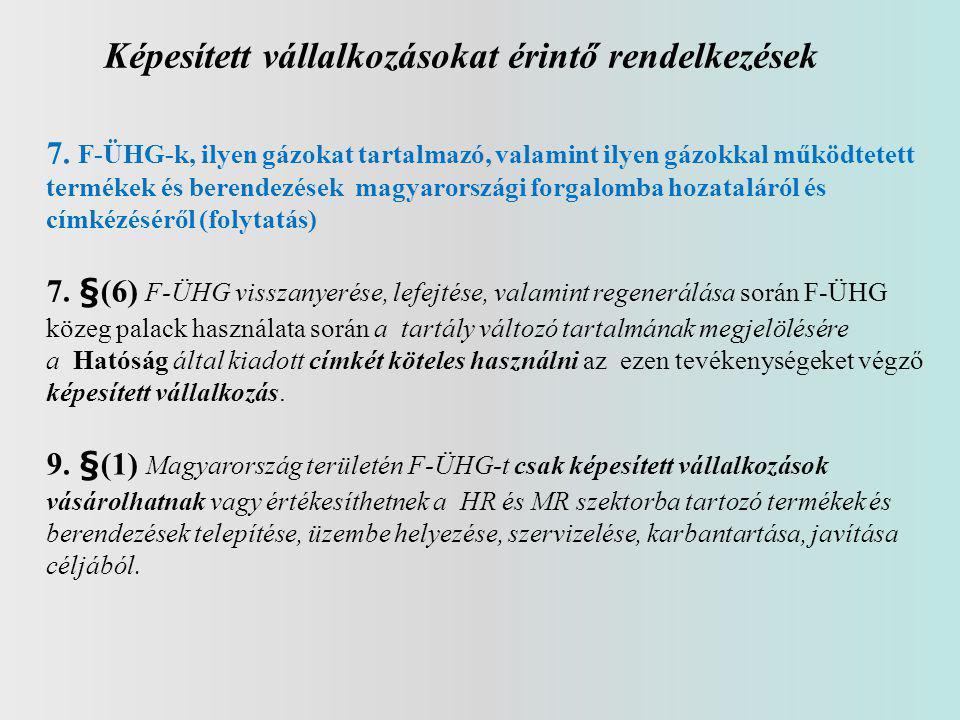 Képesített vállalkozásokat érintő rendelkezések 7. F-ÜHG-k, ilyen gázokat tartalmazó, valamint ilyen gázokkal működtetett termékek és berendezések mag