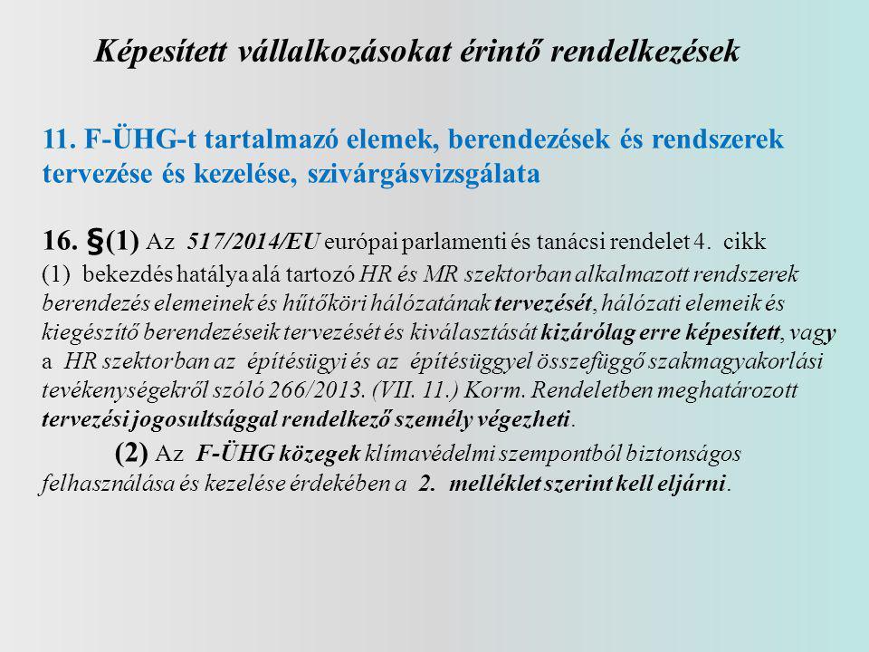 Képesített vállalkozásokat érintő rendelkezések 11.