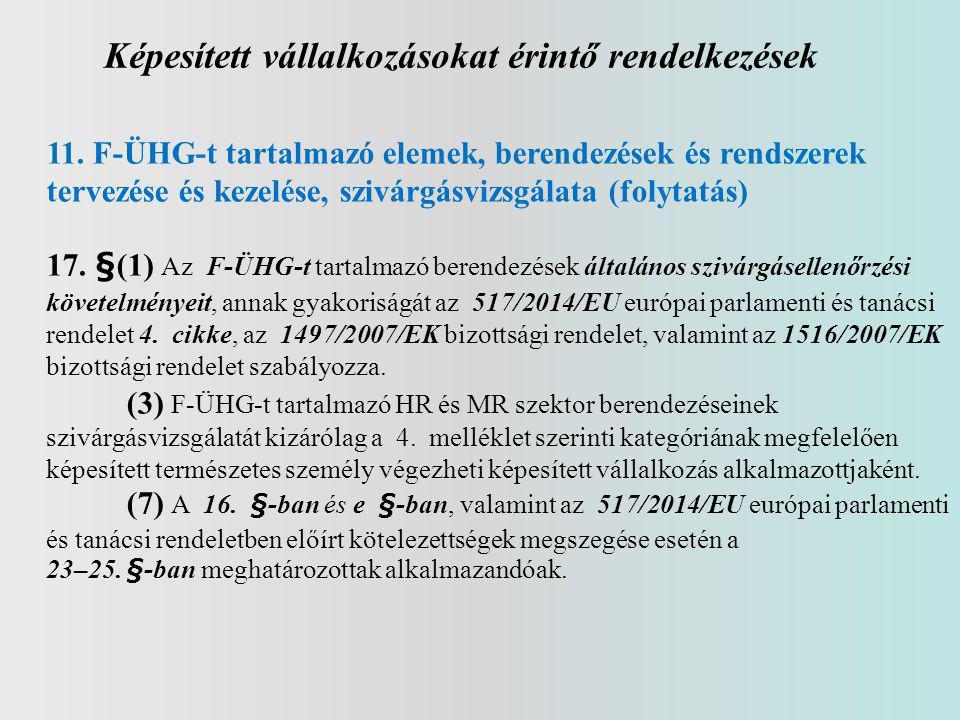 Képesített vállalkozásokat érintő rendelkezések 11. F-ÜHG-t tartalmazó elemek, berendezések és rendszerek tervezése és kezelése, szivárgásvizsgálata (