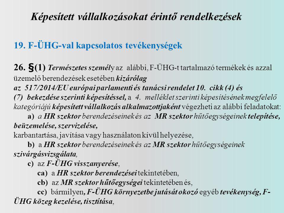 Képesített vállalkozásokat érintő rendelkezések 19.F-ÜHG-val kapcsolatos tevékenységek 26. §(1) Természetes személy az alábbi, F-ÜHG-t tartalmazó term