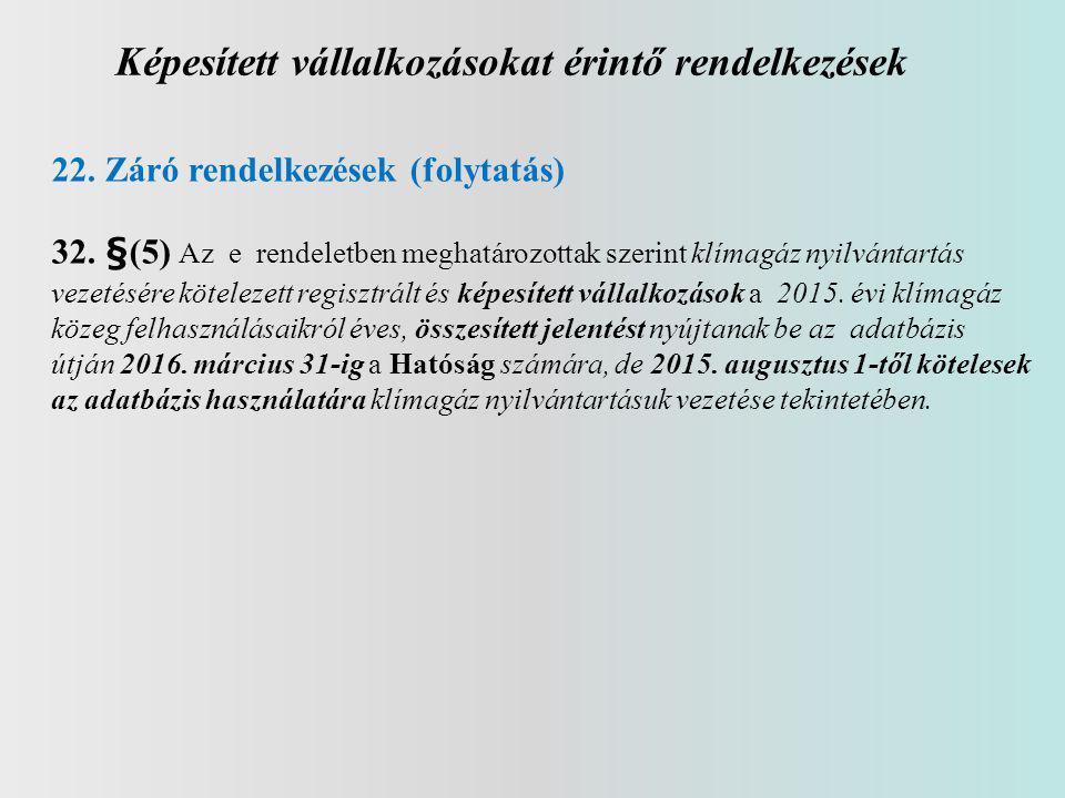 Képesített vállalkozásokat érintő rendelkezések 22.