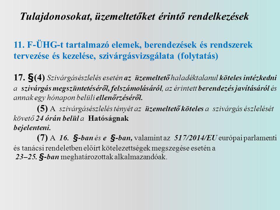 Tulajdonosokat, üzemeltetőket érintő rendelkezések 11.