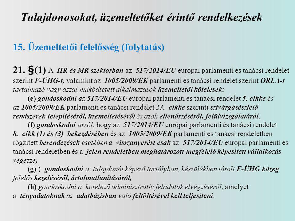 Tulajdonosokat, üzemeltetőket érintő rendelkezések 15. Üzemeltetői felelősség (folytatás) 21. §(1) A HR és MR szektorban az 517/2014/EU európai parlam