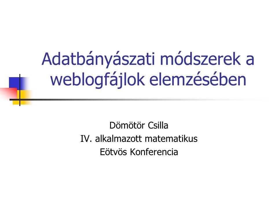 Adatbányászati módszerek a weblogfájlok elemzésében Dömötör Csilla IV. alkalmazott matematikus Eötvös Konferencia