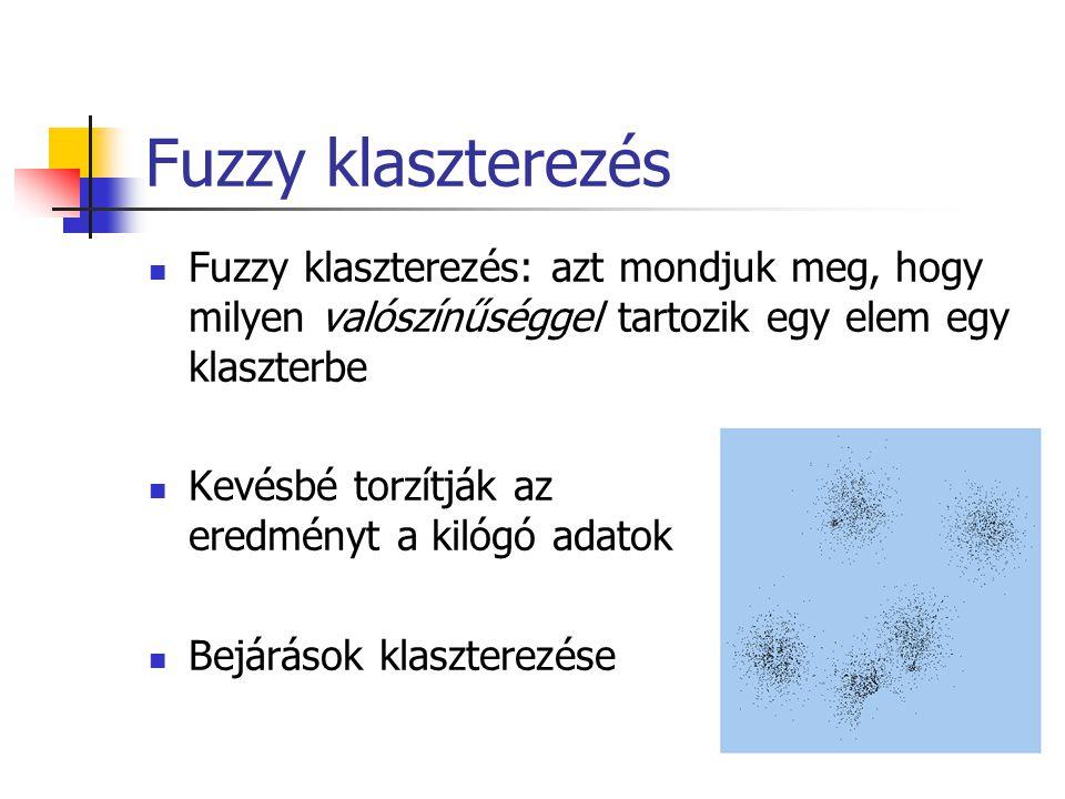 Fuzzy klaszterezés Fuzzy klaszterezés: azt mondjuk meg, hogy milyen valószínűséggel tartozik egy elem egy klaszterbe Kevésbé torzítják az eredményt a