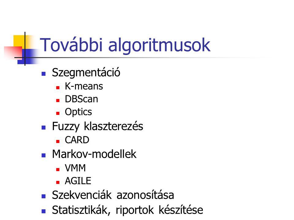 További algoritmusok Szegmentáció K-means DBScan Optics Fuzzy klaszterezés CARD Markov-modellek VMM AGILE Szekvenciák azonosítása Statisztikák, riport