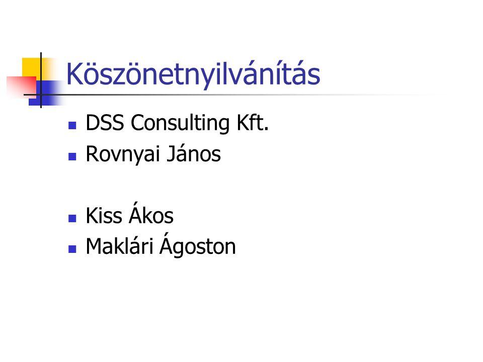 Köszönetnyilvánítás DSS Consulting Kft. Rovnyai János Kiss Ákos Maklári Ágoston