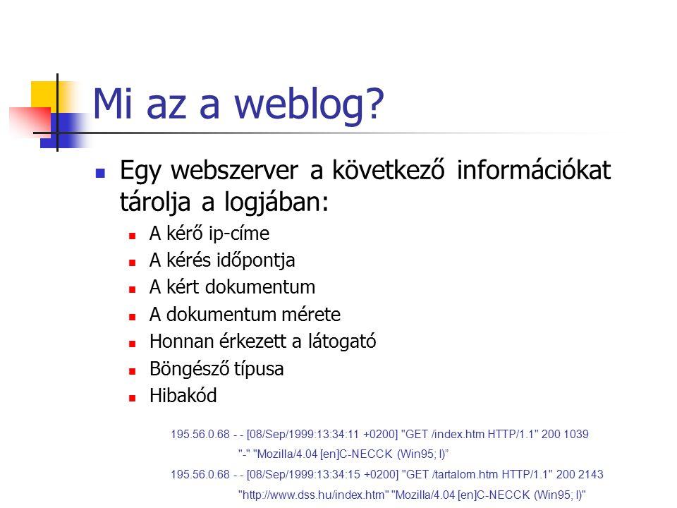 Mi az a weblog? Egy webszerver a következő információkat tárolja a logjában: A kérő ip-címe A kérés időpontja A kért dokumentum A dokumentum mérete Ho