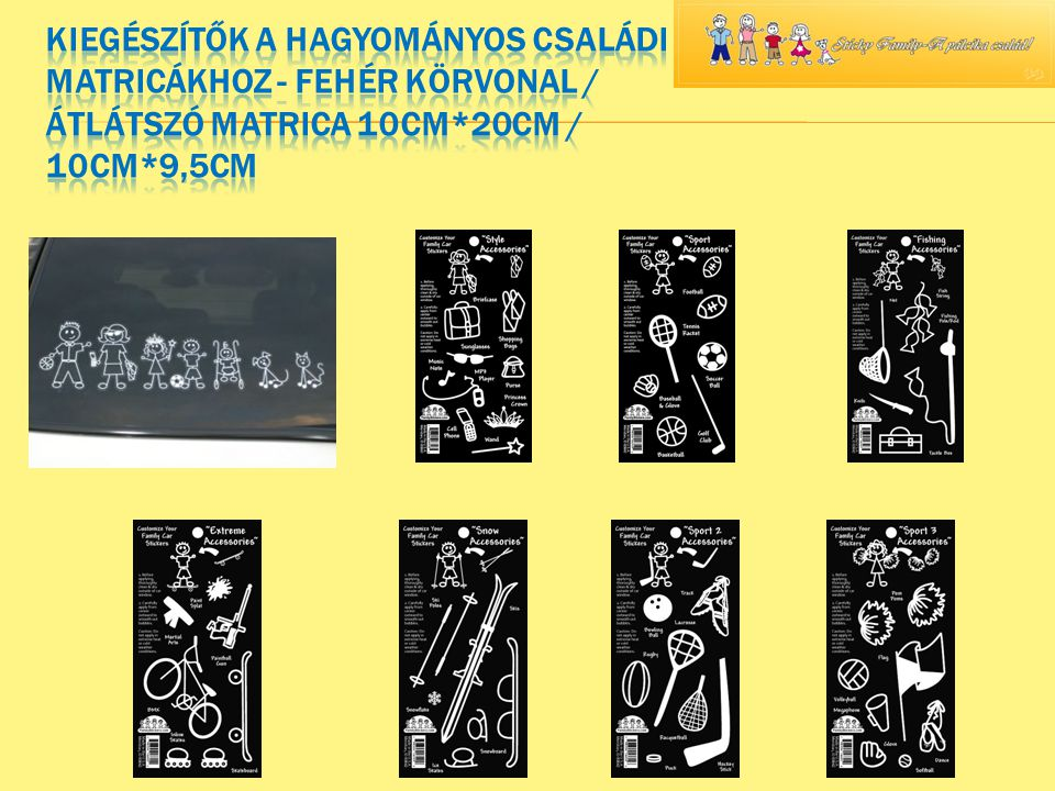  Töltött display (85 db matrica 2 displayben)  A display tartalma: 10 női, 10 férfi, 10 lány, 10 fiú, 5 totyogó lány, 5 totyogó fiú, 5 baba babakocsiban, 10 kutya, 5 cica, 10 nagy tappancs, 5 kis tappancs.