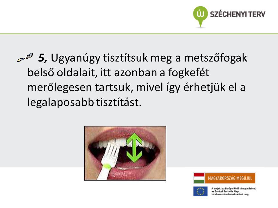 5, Ugyanúgy tisztítsuk meg a metszőfogak belső oldalait, itt azonban a fogkefét merőlegesen tartsuk, mivel így érhetjük el a legalaposabb tisztítást.