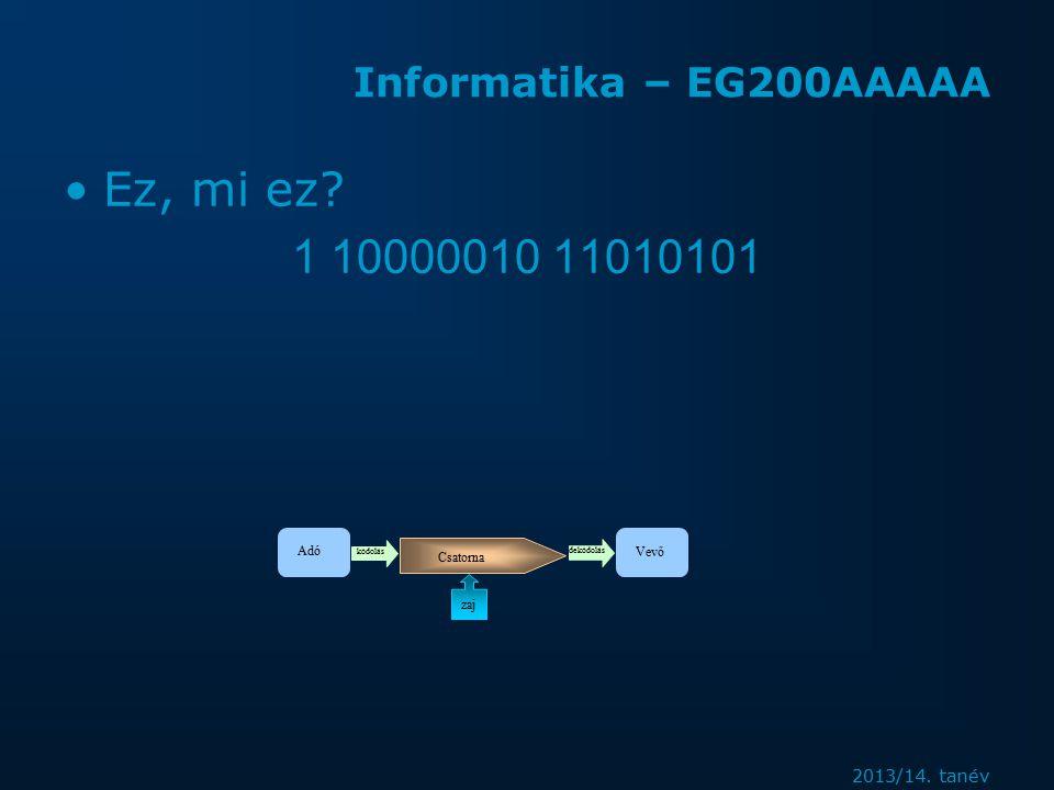 2013/14. tanév Informatika – EG200AAAAA Ez, mi ez.