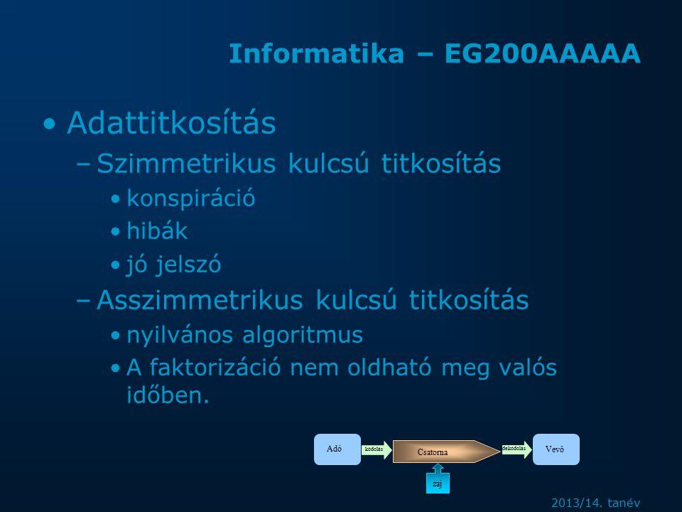 Informatika – EG200AAAAA Adattitkosítás –Szimmetrikus kulcsú titkosítás konspiráció hibák jó jelszó –Asszimmetrikus kulcsú titkosítás nyilvános algoritmus A faktorizáció nem oldható meg valós időben.