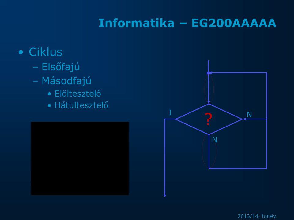 2013/14. tanév Informatika – EG200AAAAA Ciklus –Elsőfajú –Másodfajú Elöltesztelő Hátultesztelő .