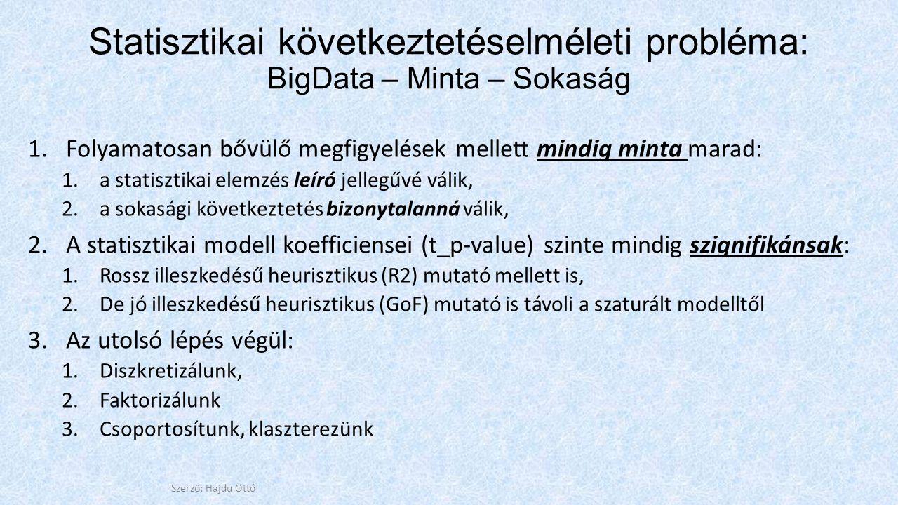 Statisztikai következtetéselméleti probléma: BigData – Minta – Sokaság 1.Folyamatosan bővülő megfigyelések mellett mindig minta marad: 1.a statisztikai elemzés leíró jellegűvé válik, 2.a sokasági következtetés bizonytalanná válik, 2.A statisztikai modell koefficiensei (t_p-value) szinte mindig szignifikánsak: 1.Rossz illeszkedésű heurisztikus (R2) mutató mellett is, 2.De jó illeszkedésű heurisztikus (GoF) mutató is távoli a szaturált modelltől 3.Az utolsó lépés végül: 1.Diszkretizálunk, 2.Faktorizálunk 3.Csoportosítunk, klaszterezünk Szerző: Hajdu Ottó