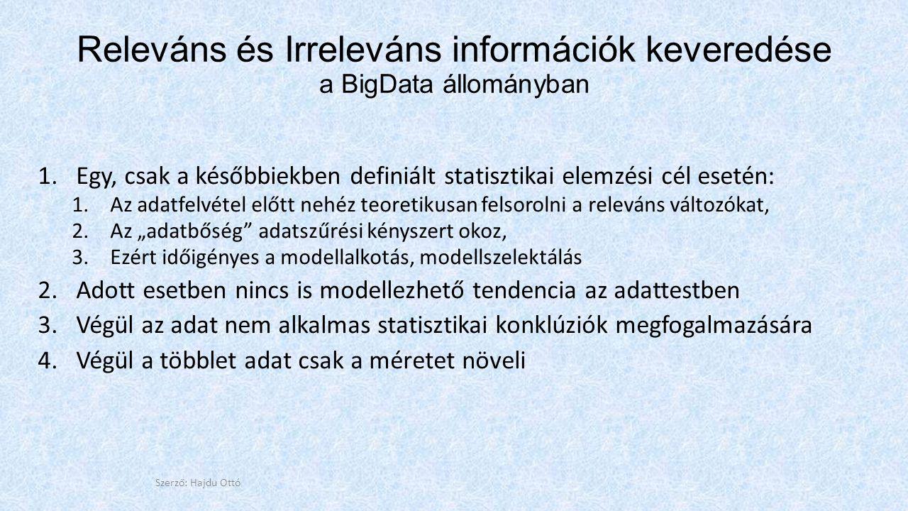 """Releváns és Irreleváns információk keveredése a BigData állományban 1.Egy, csak a későbbiekben definiált statisztikai elemzési cél esetén: 1.Az adatfelvétel előtt nehéz teoretikusan felsorolni a releváns változókat, 2.Az """"adatbőség adatszűrési kényszert okoz, 3.Ezért időigényes a modellalkotás, modellszelektálás 2.Adott esetben nincs is modellezhető tendencia az adattestben 3.Végül az adat nem alkalmas statisztikai konklúziók megfogalmazására 4.Végül a többlet adat csak a méretet növeli Szerző: Hajdu Ottó"""
