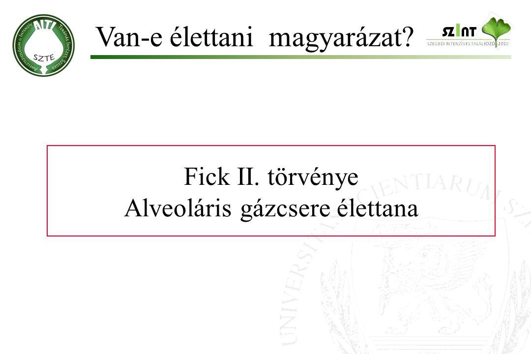 Fick II. törvénye Alveoláris gázcsere élettana Van-e élettani magyarázat?