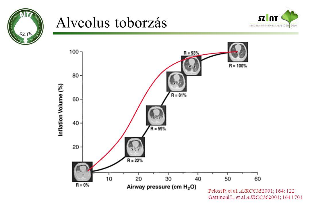 Alveolus toborzás Pelosi P, et al. AJRCCM 2001; 164: 122 Gattinoni L, et al AJRCCM 2001; 164 1701