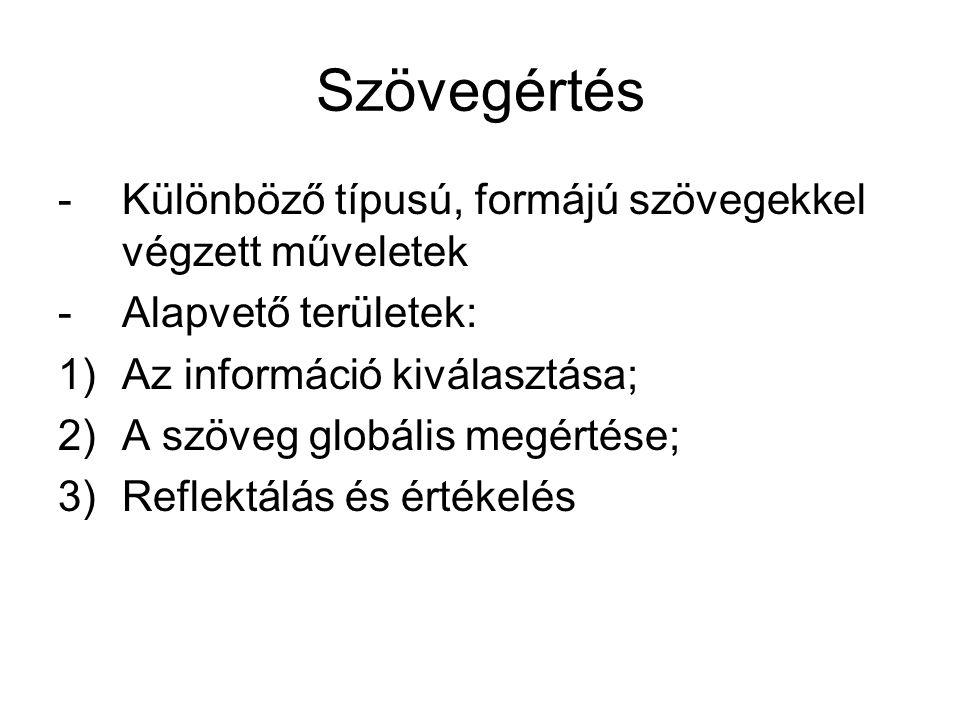 Szövegértés -Különböző típusú, formájú szövegekkel végzett műveletek -Alapvető területek: 1)Az információ kiválasztása; 2)A szöveg globális megértése;