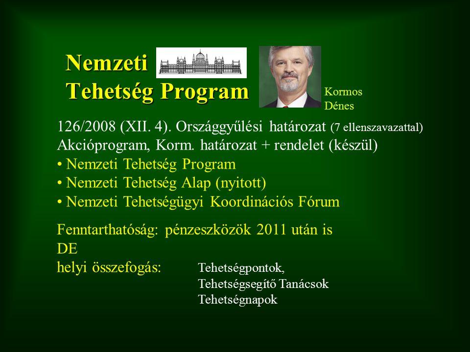 Nemzeti Tehetség Program 126/2008 (XII. 4). Országgyűlési határozat (7 ellenszavazattal) Akcióprogram, Korm. határozat + rendelet (készül) Nemzeti Teh