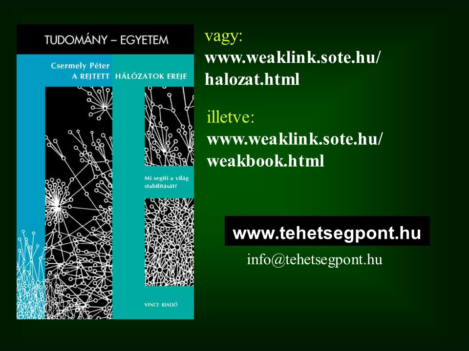 vagy: www.weaklink.sote.hu/ halozat.html illetve: www.weaklink.sote.hu/ weakbook.html www.tehetsegpont.hu info@tehetsegpont.hu