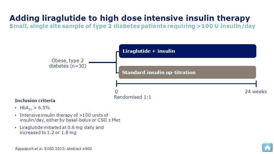 Adding liraglutide to high dose intensive insulin therapy Small, single site sample of type 2 diabetes patients requiring >100 U insulin/day Liragluti
