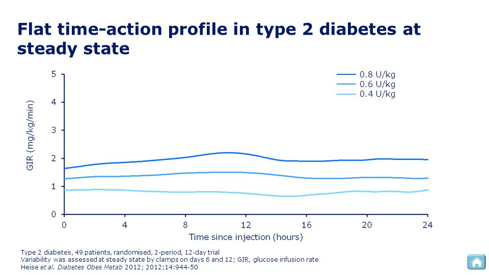 Flat time-action profile in type 2 diabetes at steady state Type 2 diabetes, 49 patients, randomised, 2-period, 12-day trial Variability was assessed