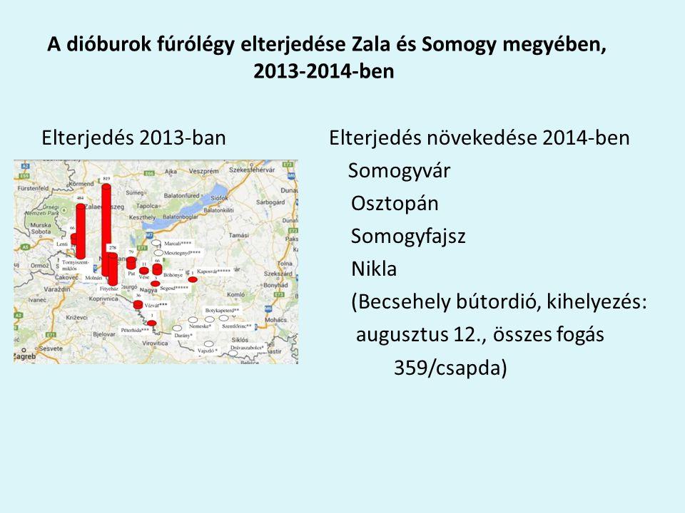 A dióburok fúrólégy elterjedése Zala és Somogy megyében, 2013-2014-ben Elterjedés 2013-ban Elterjedés növekedése 2014-ben Somogyvár Osztopán Somogyfajsz Nikla (Becsehely bútordió, kihelyezés: augusztus 12., összes fogás 359/csapda)