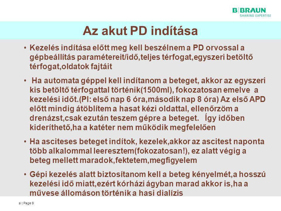 sl | Page9 Az akut PD indítása Kezelés indítása előtt meg kell beszélnem a PD orvossal a gépbeállítás paramétereit/idő,teljes térfogat,egyszeri betölt