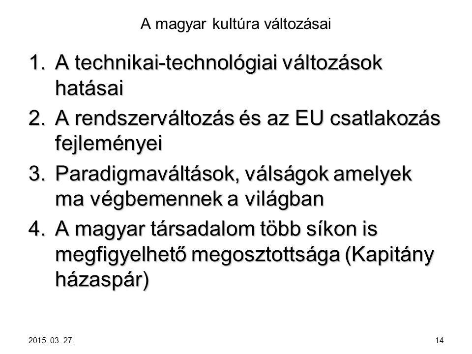 2015. 03. 27. 14 A magyar kultúra változásai 1.A technikai-technológiai változások hatásai 2.A rendszerváltozás és az EU csatlakozás fejleményei 3.Par