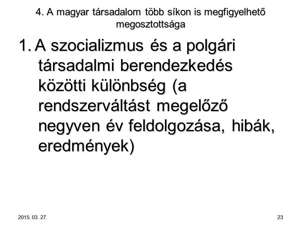 2015. 03. 27. 23 4. A magyar társadalom több síkon is megfigyelhető megosztottsága 1. A szocializmus és a polgári társadalmi berendezkedés közötti kül