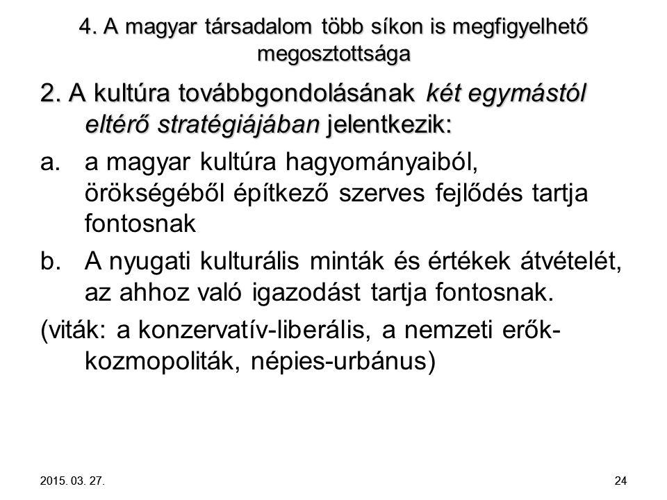 2015. 03. 27. 24 4. A magyar társadalom több síkon is megfigyelhető megosztottsága 2. A kultúra továbbgondolásának két egymástól eltérő stratégiájában