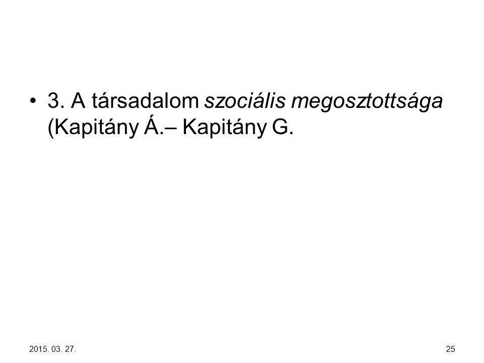 3. A társadalom szociális megosztottsága (Kapitány Á.– Kapitány G. 2015. 03. 27. 25