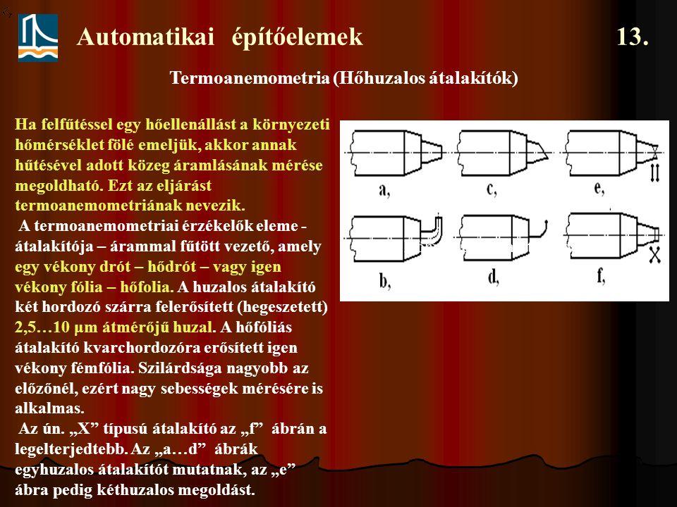 Automatikai építőelemek 13. Termoanemometria (Hőhuzalos átalakítók) Ha felfűtéssel egy hőellenállást a környezeti hőmérséklet fölé emeljük, akkor anna
