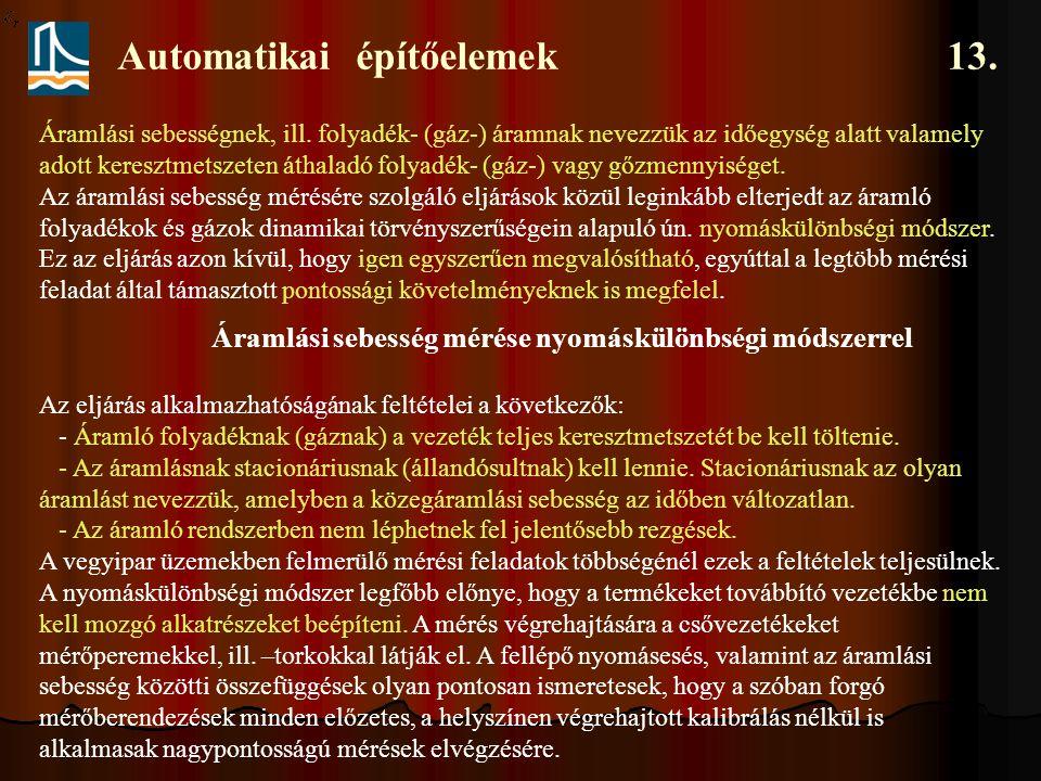 Automatikai építőelemek 13.Áramlási sebességnek, ill.