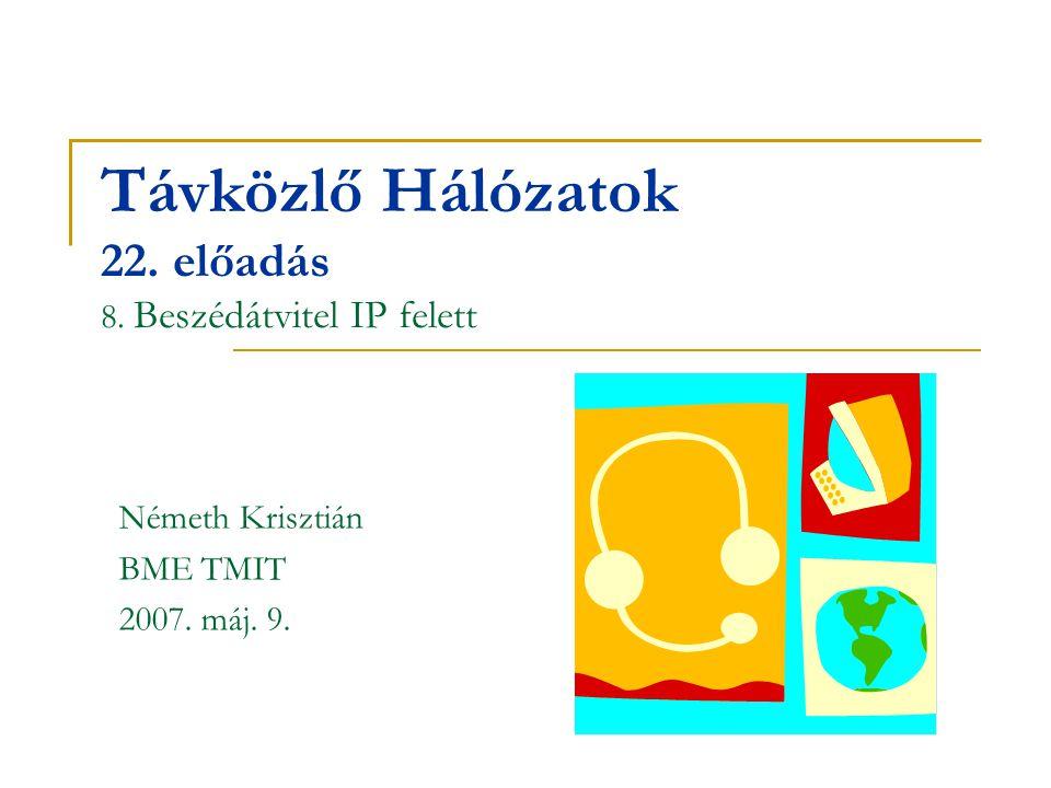 Távközlő Hálózatok 22. előadás 8. Beszédátvitel IP felett Németh Krisztián BME TMIT 2007. máj. 9.