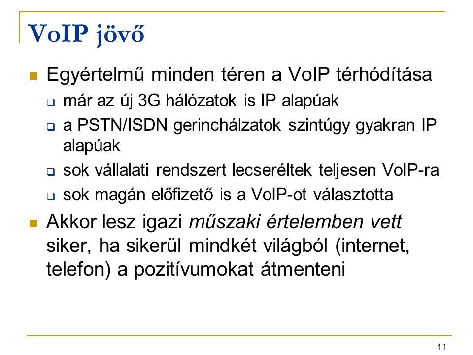 11 VoIP jövő Egyértelmű minden téren a VoIP térhódítása  már az új 3G hálózatok is IP alapúak  a PSTN/ISDN gerinchálzatok szintúgy gyakran IP alapúa