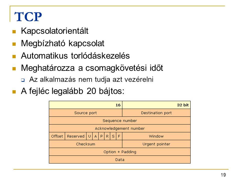 19 TCP Kapcsolatorientált Megbízható kapcsolat Automatikus torlódáskezelés Meghatározza a csomagkövetési időt  Az alkalmazás nem tudja azt vezérelni