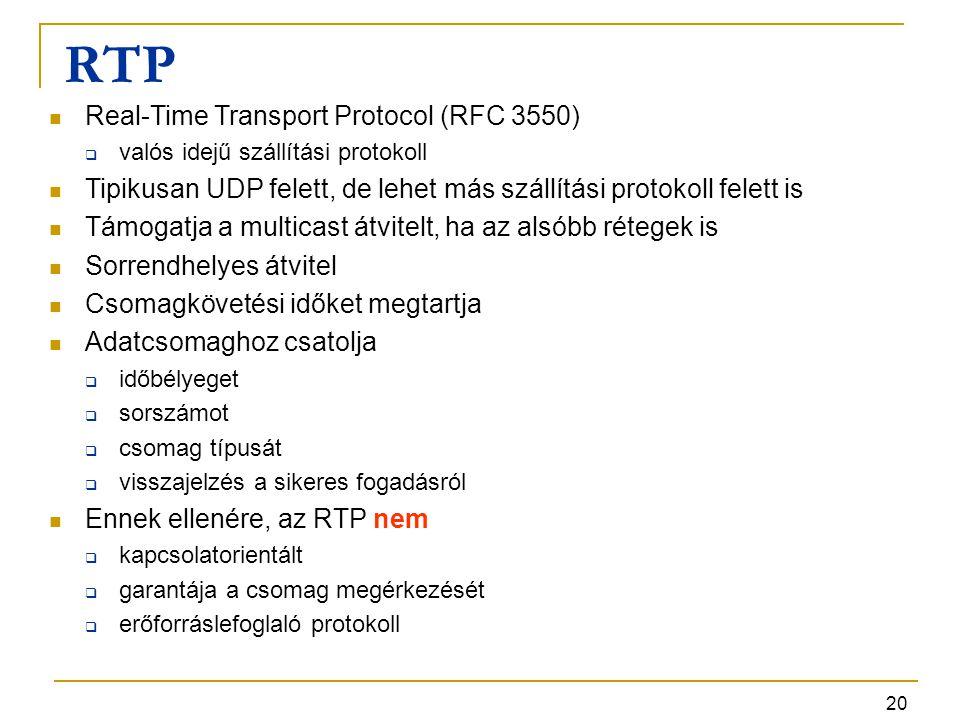 20 RTP Real-Time Transport Protocol (RFC 3550)  valós idejű szállítási protokoll Tipikusan UDP felett, de lehet más szállítási protokoll felett is Tá