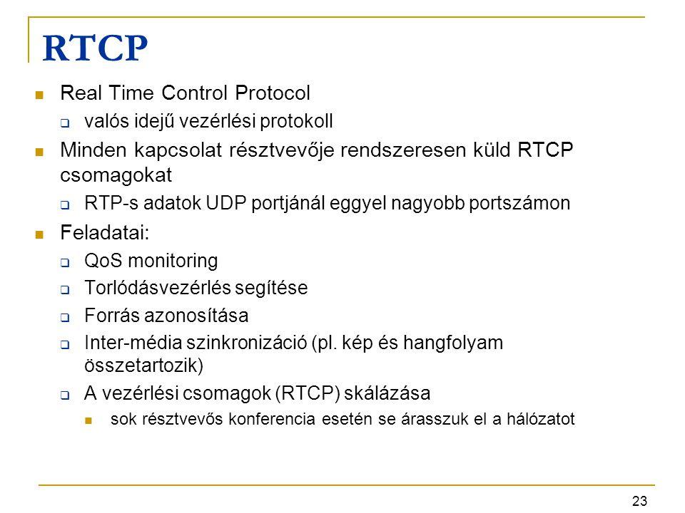 23 RTCP Real Time Control Protocol  valós idejű vezérlési protokoll Minden kapcsolat résztvevője rendszeresen küld RTCP csomagokat  RTP-s adatok UDP