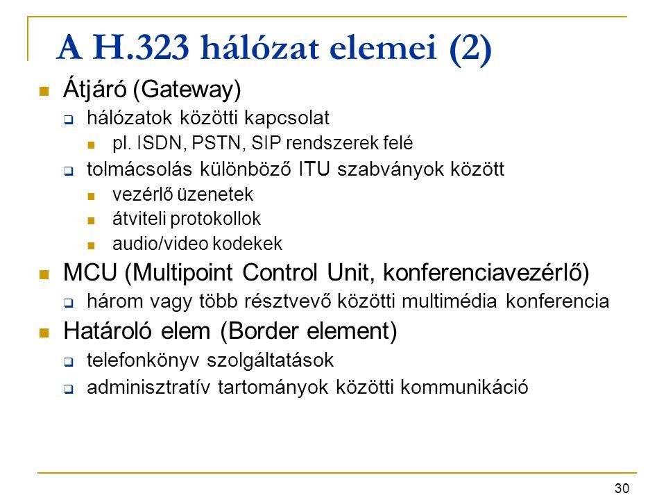 30 A H.323 hálózat elemei (2) Átjáró (Gateway)  hálózatok közötti kapcsolat pl. ISDN, PSTN, SIP rendszerek felé  tolmácsolás különböző ITU szabványo