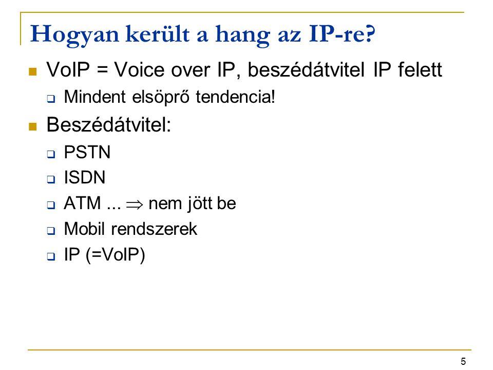 5 Hogyan került a hang az IP-re? VoIP = Voice over IP, beszédátvitel IP felett  Mindent elsöprő tendencia! Beszédátvitel:  PSTN  ISDN  ATM...  ne