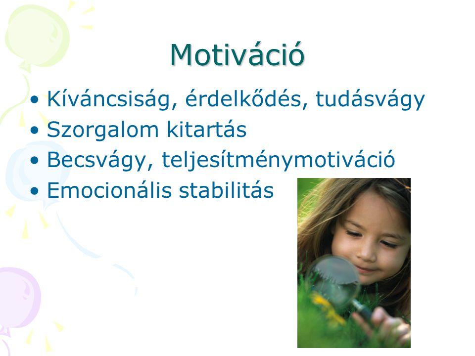 Motiváció Kíváncsiság, érdelkődés, tudásvágy Szorgalom kitartás Becsvágy, teljesítménymotiváció Emocionális stabilitás