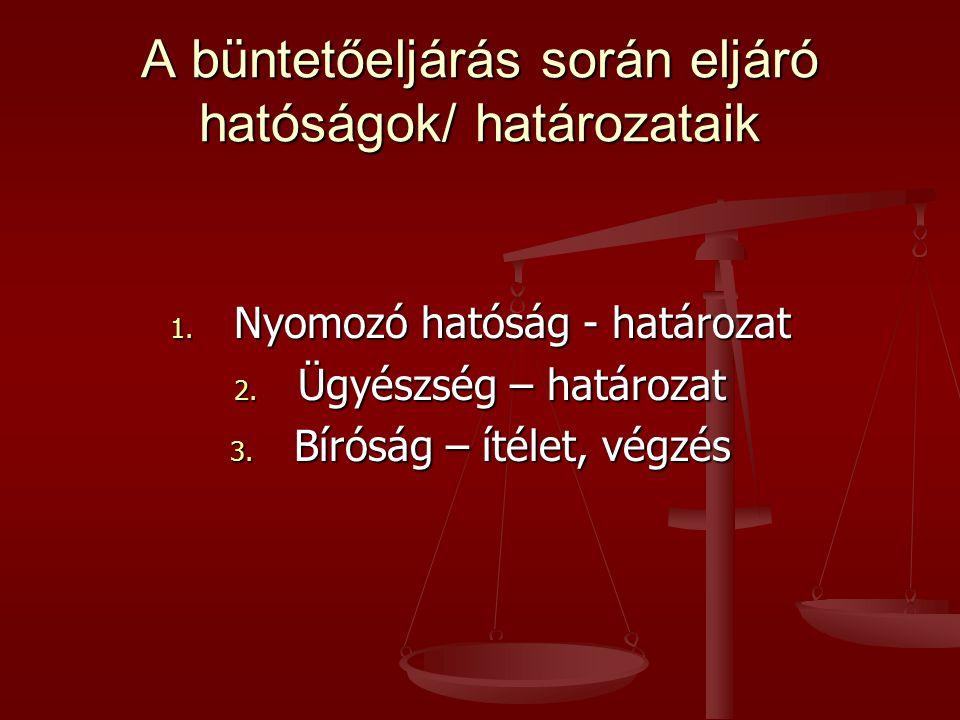 A büntetőeljárás során eljáró hatóságok/ határozataik 1. Nyomozó hatóság - határozat 2. Ügyészség – határozat 3. Bíróság – ítélet, végzés