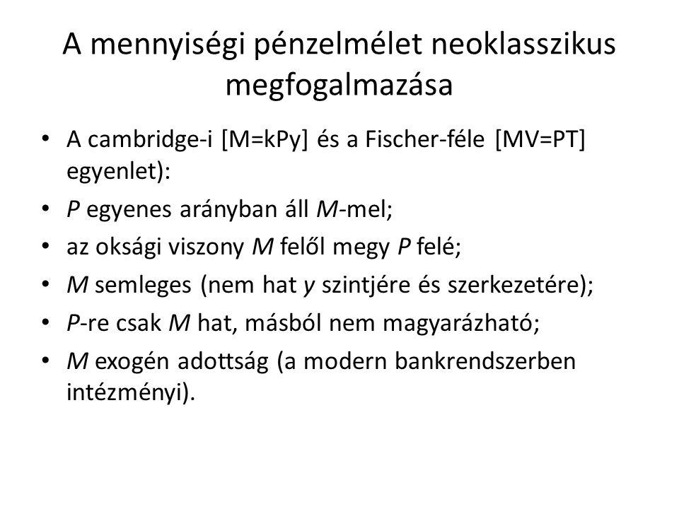 A mennyiségi pénzelmélet neoklasszikus megfogalmazása A cambridge-i [M=kPy] és a Fischer-féle [MV=PT] egyenlet): P egyenes arányban áll M-mel; az oksági viszony M felől megy P felé; M semleges (nem hat y szintjére és szerkezetére); P-re csak M hat, másból nem magyarázható; M exogén adottság (a modern bankrendszerben intézményi).